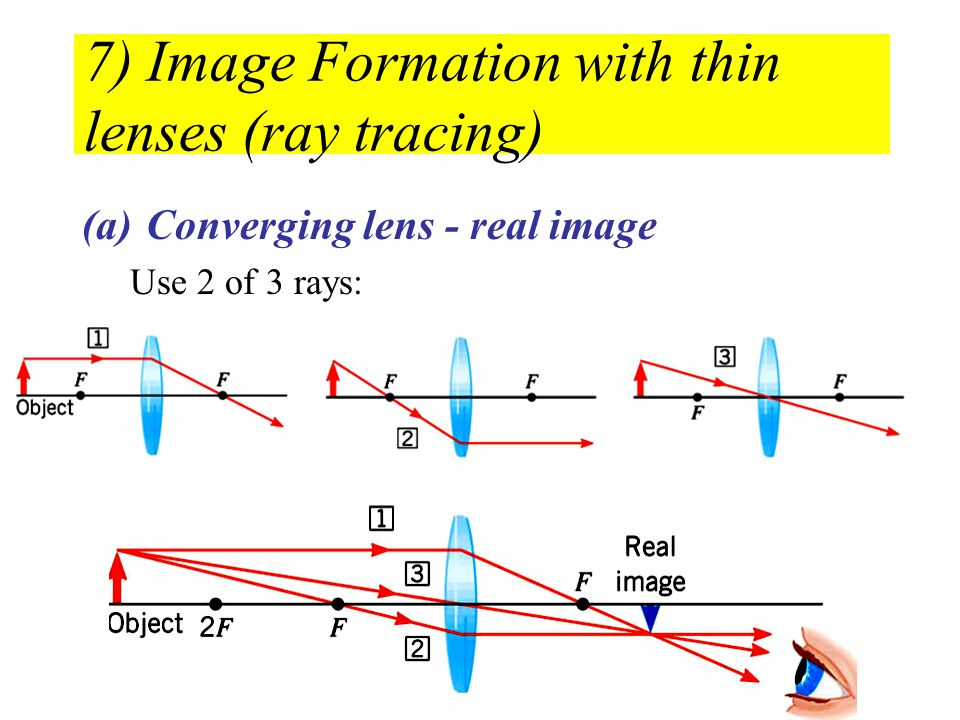 7) Image Formation with thin lenses (ray tracing) (a)Converging lens - real image Use 2 of 3 rays: