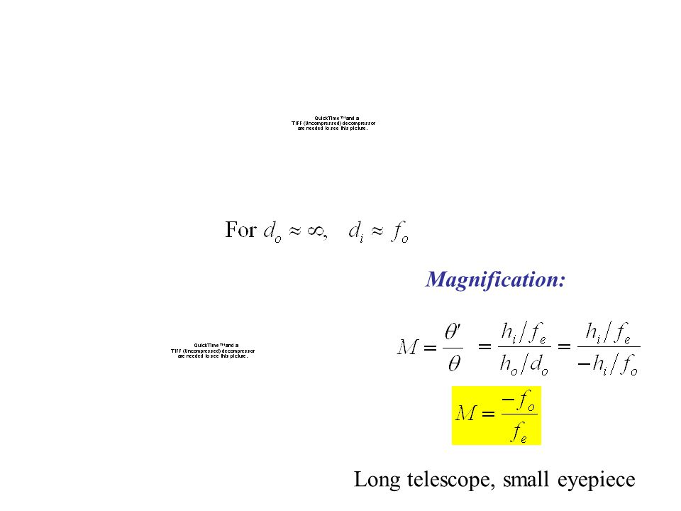 Magnification: Long telescope, small eyepiece