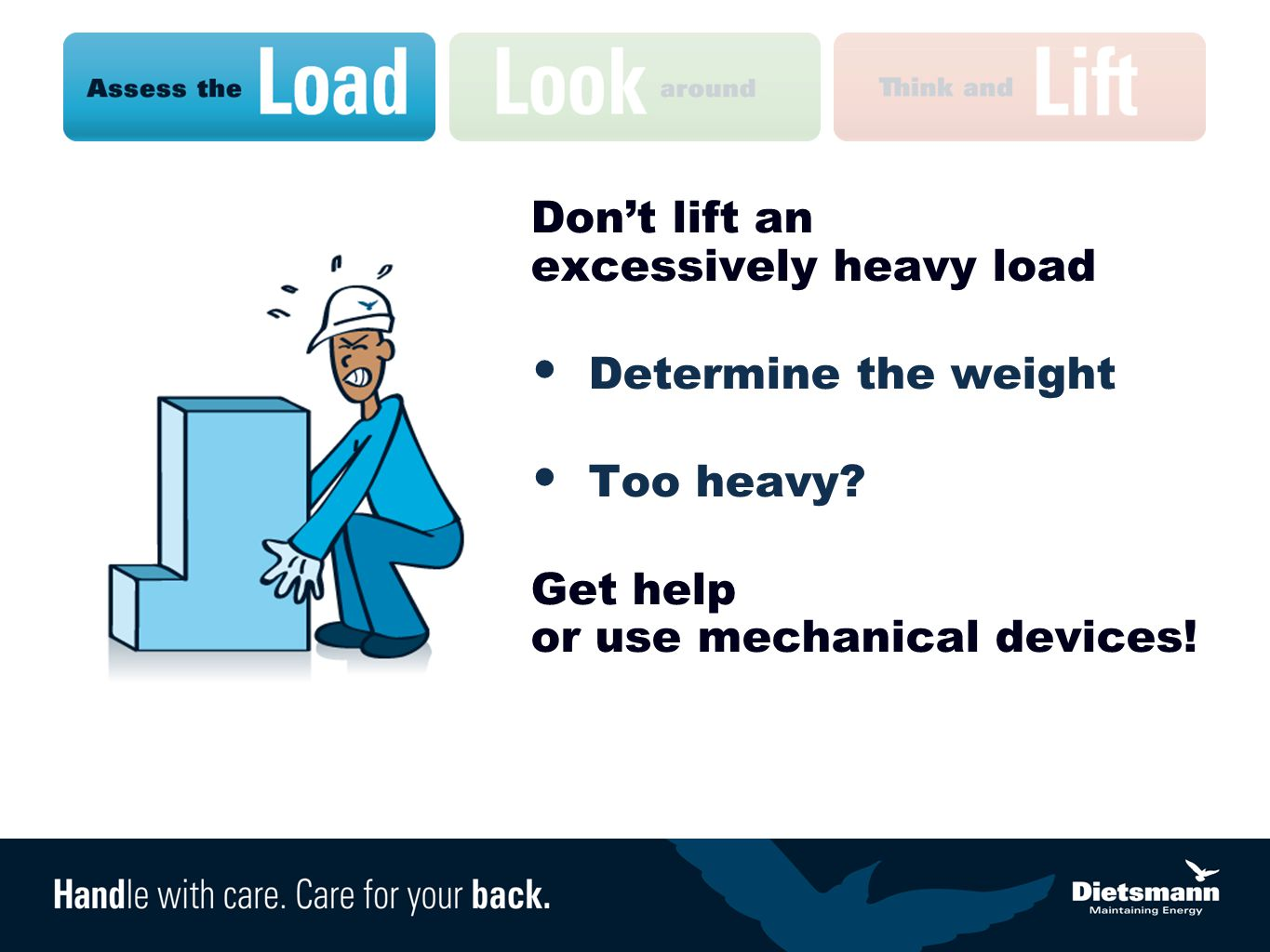 Don't lift an excessively heavy load Determine the weight Too heavy.