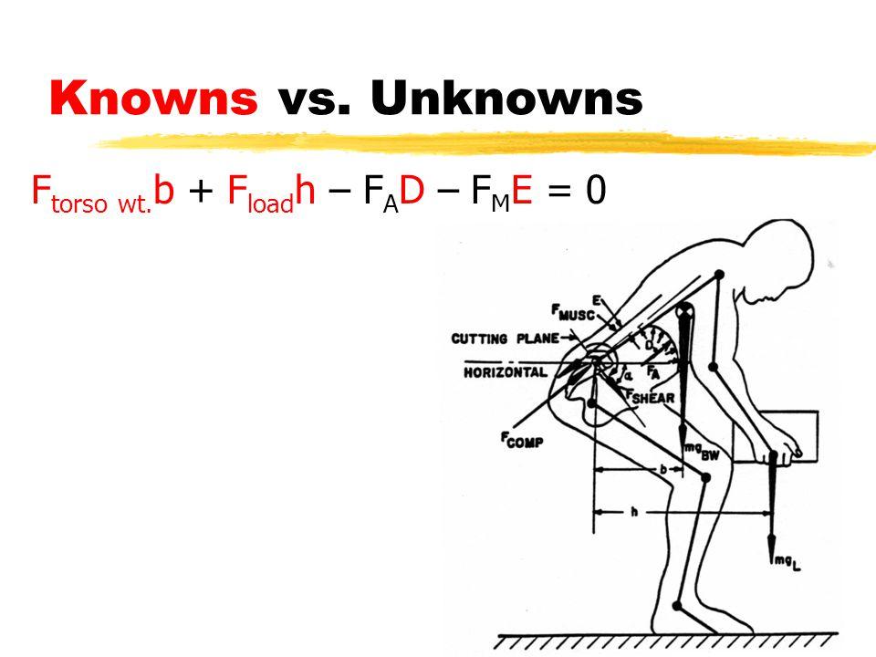 Knowns vs. Unknowns F torso wt. b + F load h – F A D – F M E = 0