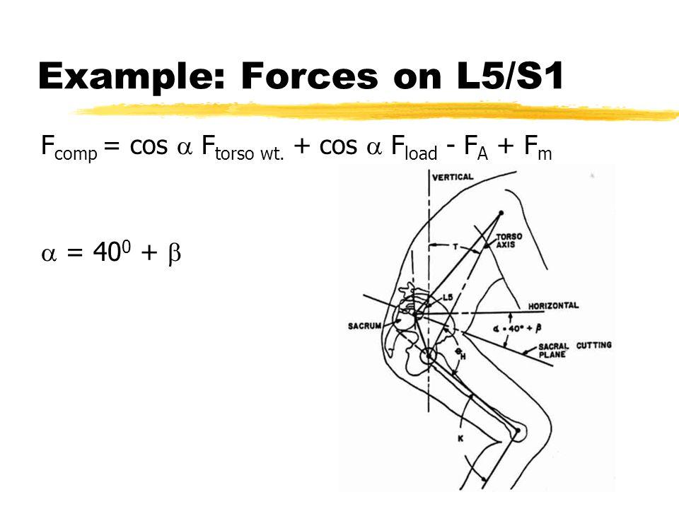 Example: Forces on L5/S1 F comp = cos  F torso wt. + cos  F load - F A + F m  = 40 0 + 