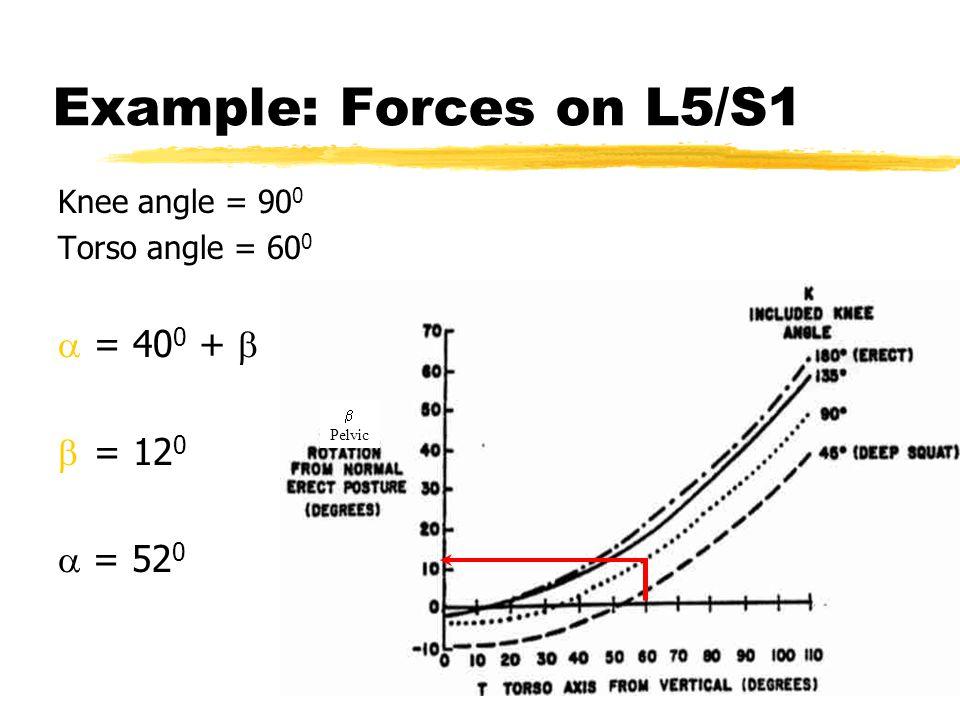 Example: Forces on L5/S1 Knee angle = 90 0 Torso angle = 60 0  = 40 0 +   = 12 0  = 52 0  Pelvic