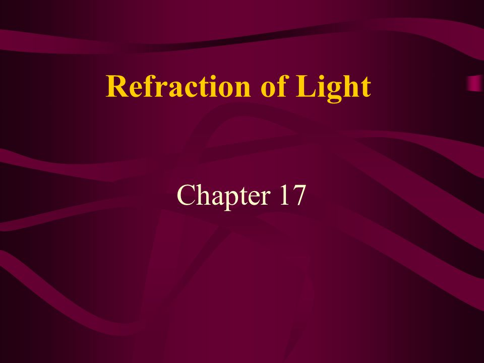 Index of refraction When light travels from one material to another it usually changes direction The bending of light that occurs at the borderline of two materials is called refraction the amount of bending depends on the optical properties of the two materials --> characterized by their index of refraction: n n is a number: n=1 for vacuum, n=1.33 for water, n=2.42 for diamond, n=1.5-1.9 for different types of glass …….