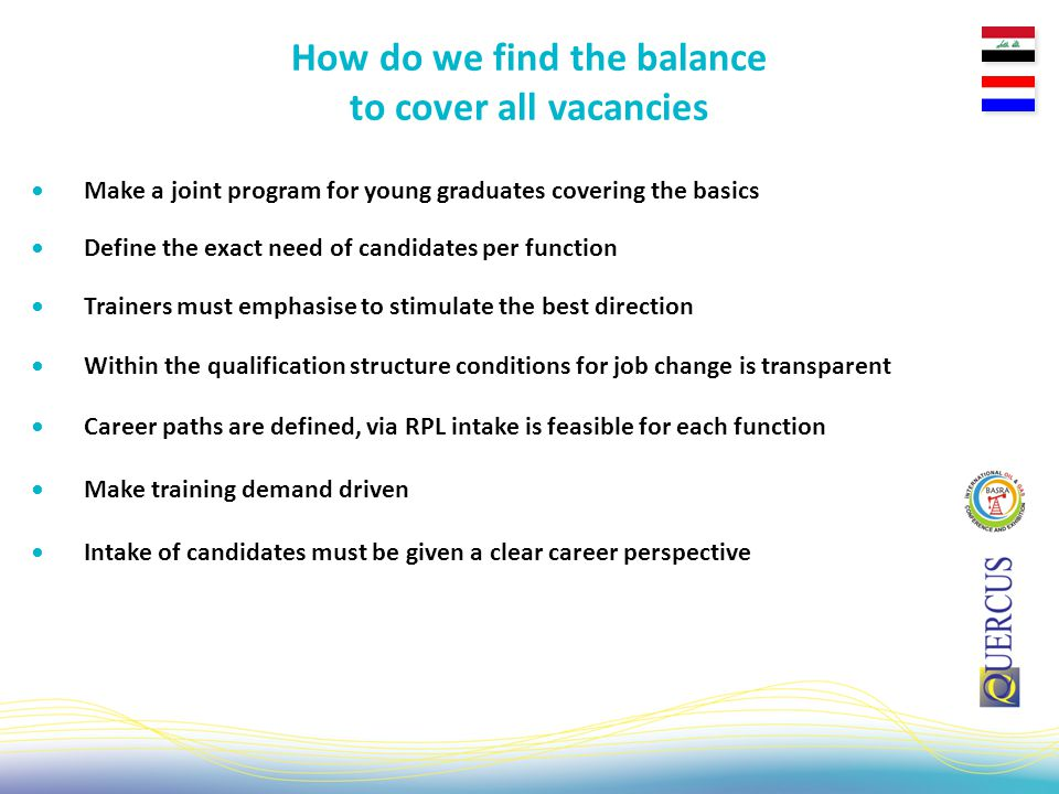Make a joint program for young graduates covering the basics How do we find the balance to cover all vacancies Define the exact need of candidates per function Trainers must emphasise to stimulate the best direction Within the qualification structure conditions for job change is transparent Career paths are defined, via RPL intake is feasible for each function Make training demand driven Intake of candidates must be given a clear career perspective