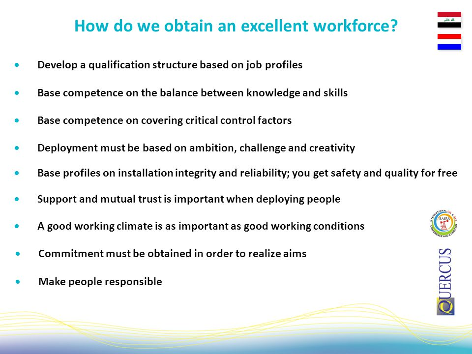 Develop a qualification structure based on job profiles How do we obtain an excellent workforce.