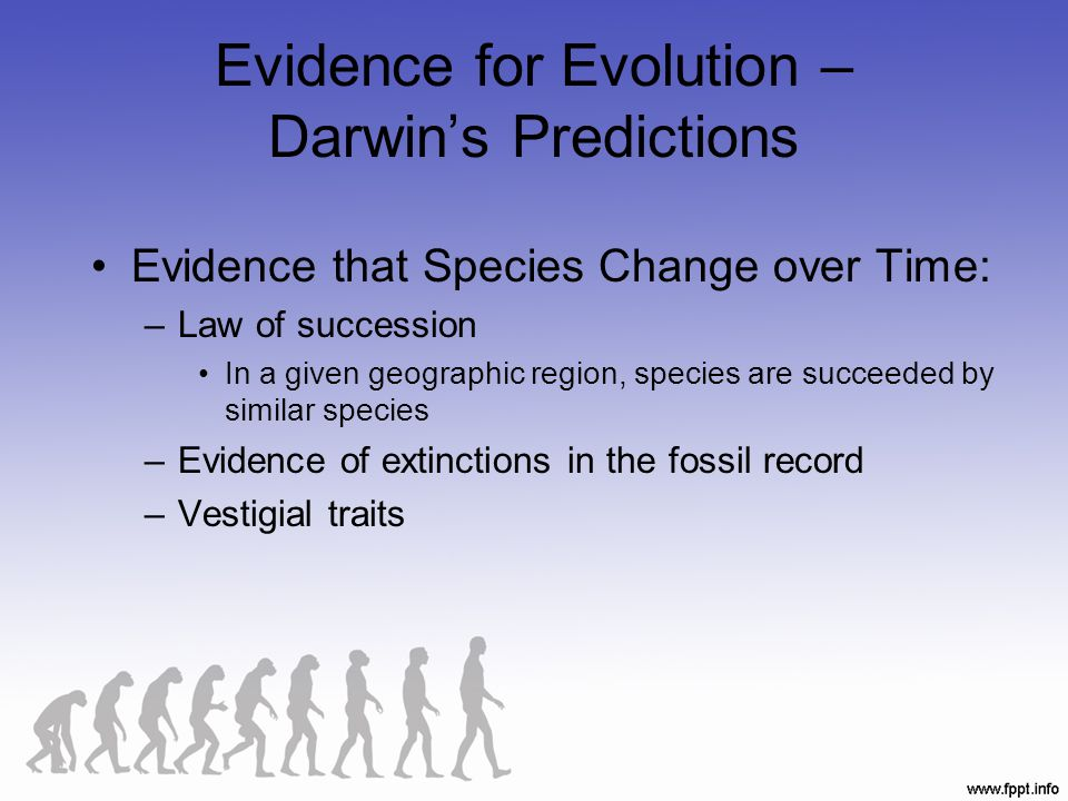 Evidence for Evolution – Darwin's Predictions Evidence that Species Change over Time: –Law of succession In a given geographic region, species are suc
