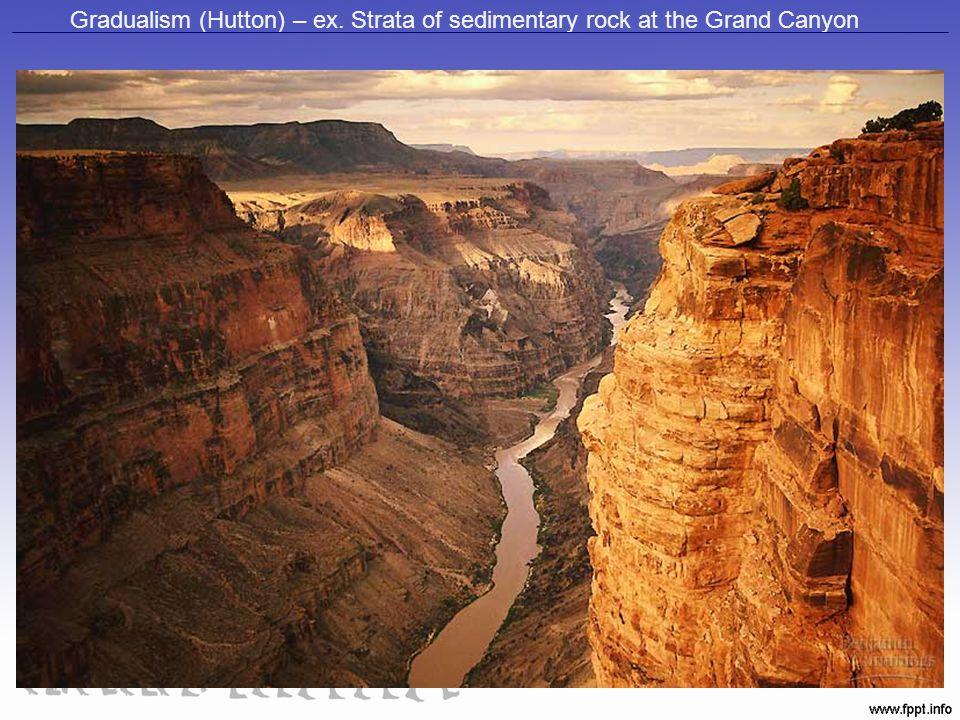 Gradualism (Hutton) – ex. Strata of sedimentary rock at the Grand Canyon