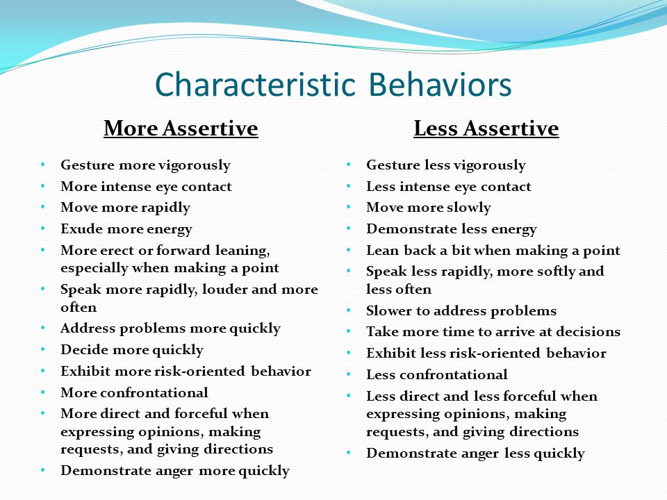 Characteristic Behaviors More Assertive Gesture more vigorously More intense eye contact Move more rapidly Exude more energy More erect or forward lea