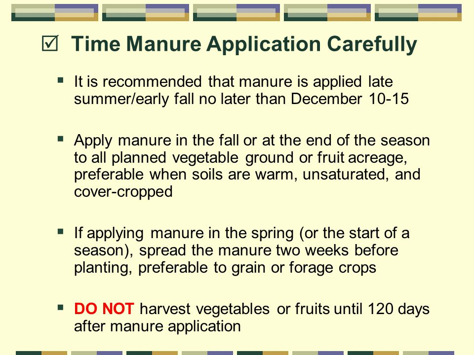  Time Manure Application Carefully  It is recommended that manure is applied late summer/early fall no later than December 10-15  Apply manure in the fall or at the end of the season to all planned vegetable ground or fruit acreage, preferable when soils are warm, unsaturated, and cover-cropped  If applying manure in the spring (or the start of a season), spread the manure two weeks before planting, preferable to grain or forage crops  DO NOT harvest vegetables or fruits until 120 days after manure application