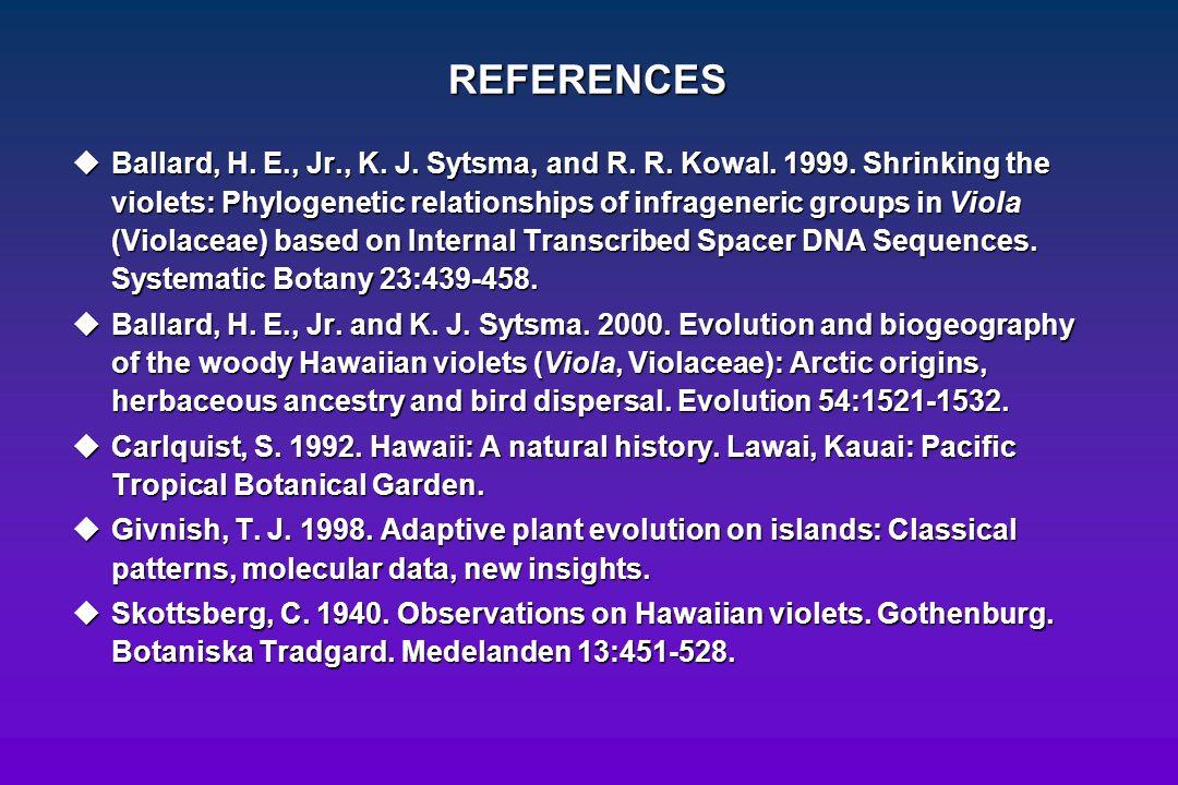 REFERENCES uBallard, H. E., Jr., K. J. Sytsma, and R. R. Kowal. 1999. Shrinking the violets: Phylogenetic relationships of infrageneric groups in Viol