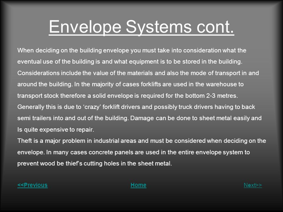 Envelope Systems cont.