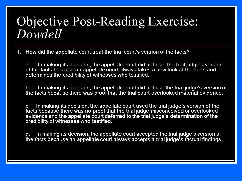 Objective Post-Reading Exercise: Dowdell 1.