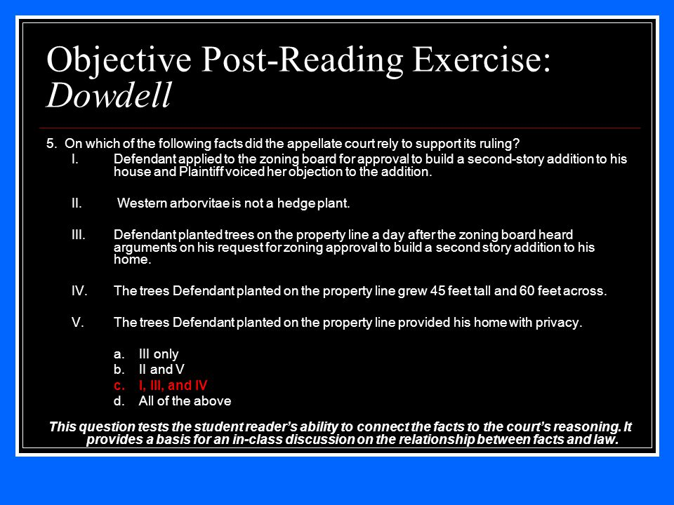 Objective Post-Reading Exercise: Dowdell 5.