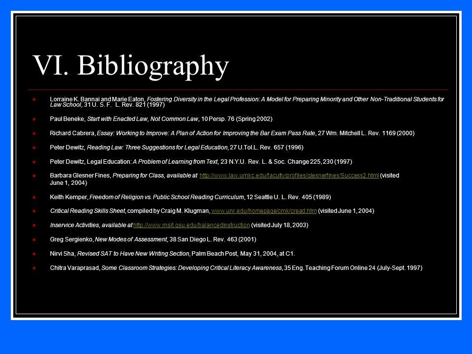 VI. Bibliography Lorraine K.