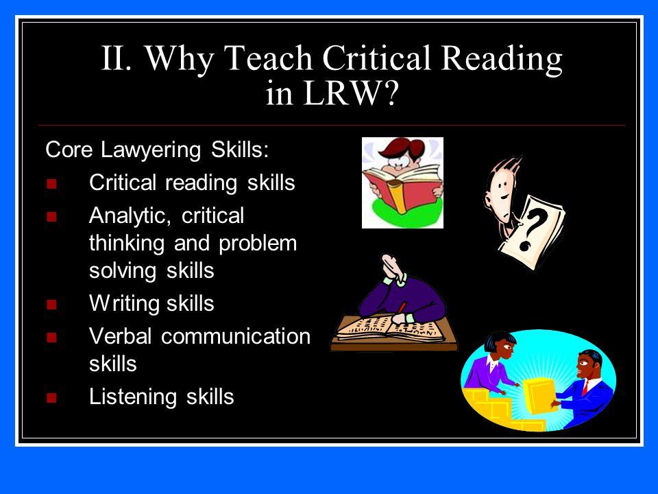 II. Why Teach Critical Reading in LRW.