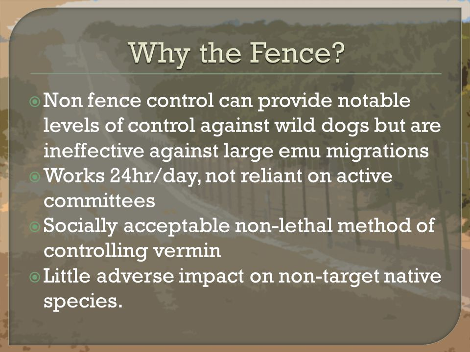  Non fence control can provide notable levels of control against wild dogs but are ineffective against large emu migrations  Works 24hr/day, not reliant on active committees  Socially acceptable non-lethal method of controlling vermin  Little adverse impact on non-target native species.