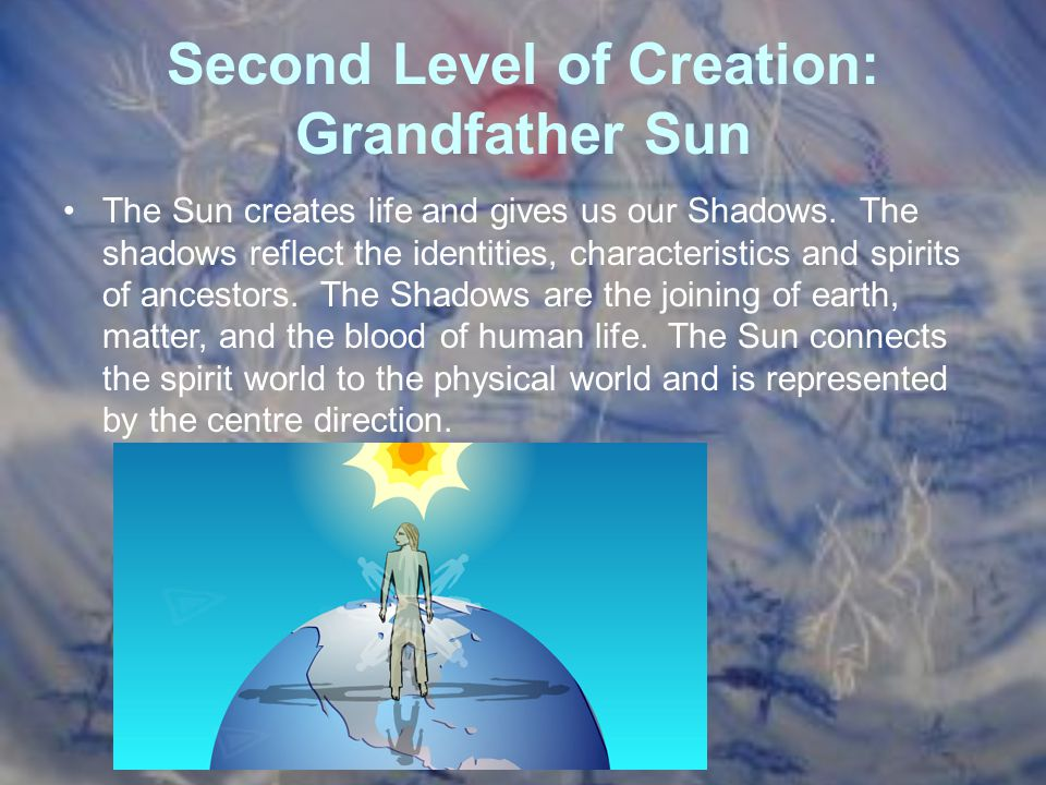 Second Level of Creation: Grandfather Sun The Sun creates life and gives us our Shadows. The shadows reflect the identities, characteristics and spiri