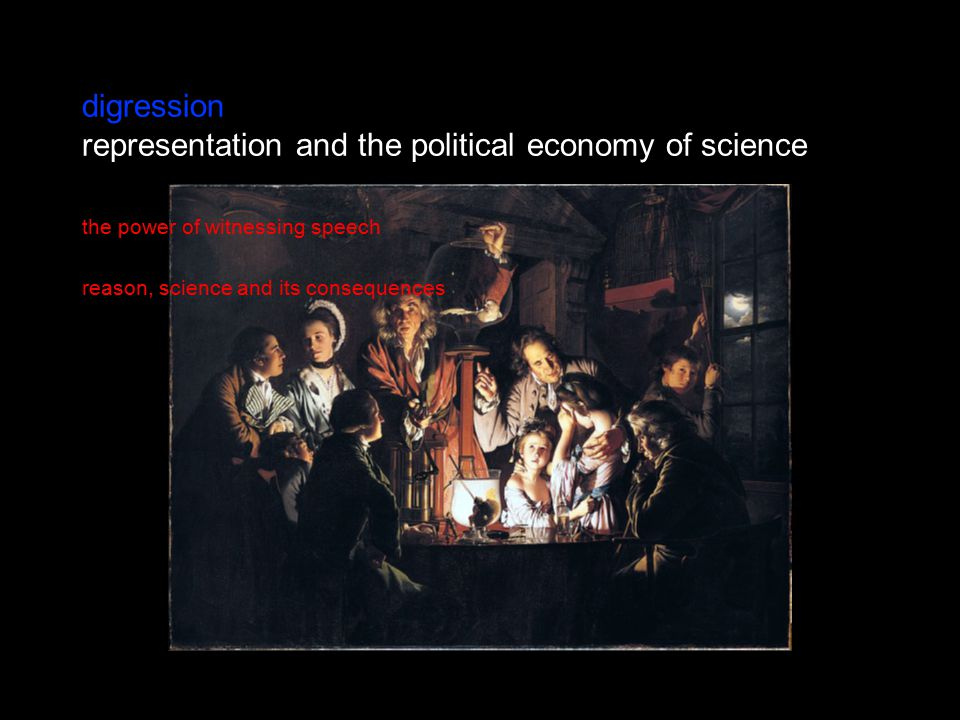 digression representation and the political economy of science the power of witnessing speech reason, science and its consequences