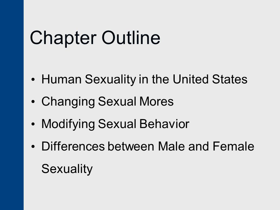 Chapter Outline Human Sexuality in the United States Changing Sexual Mores Modifying Sexual Behavior Differences between Male and Female Sexuality