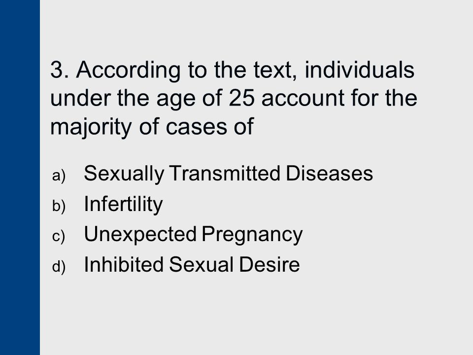 3. According to the text, individuals under the age of 25 account for the majority of cases of a) Sexually Transmitted Diseases b) Infertility c) Unex