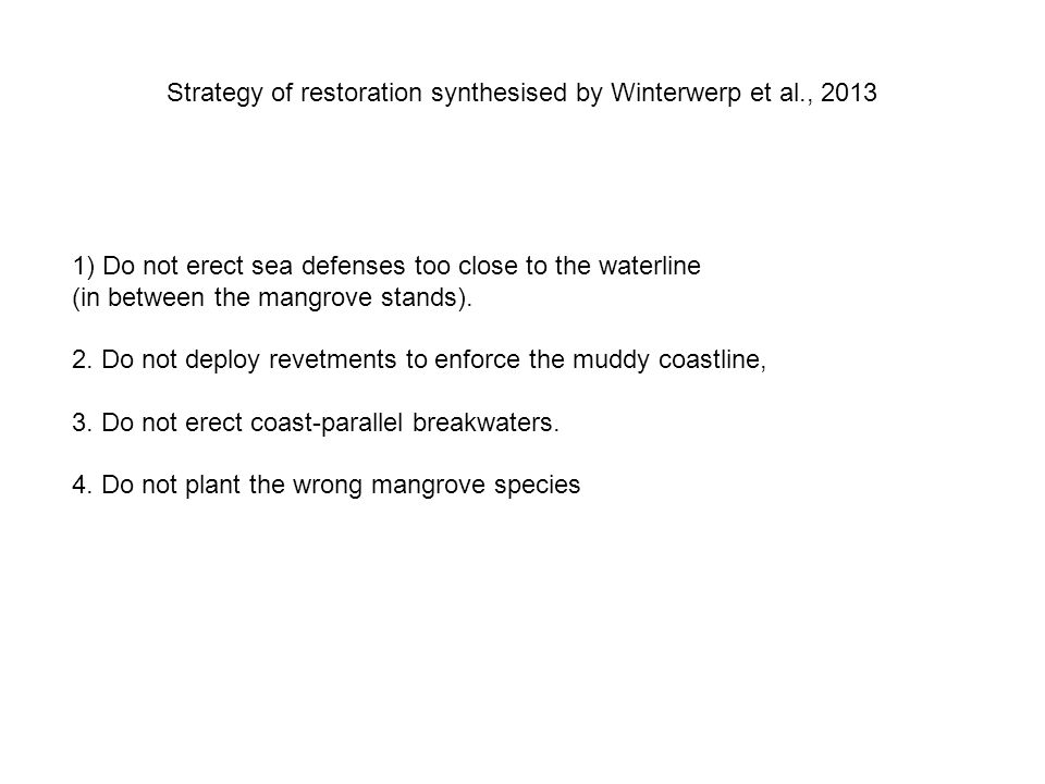 Strategy of restoration synthesised by Winterwerp et al., 2013 1) Do not erect sea defenses too close to the waterline (in between the mangrove stands).