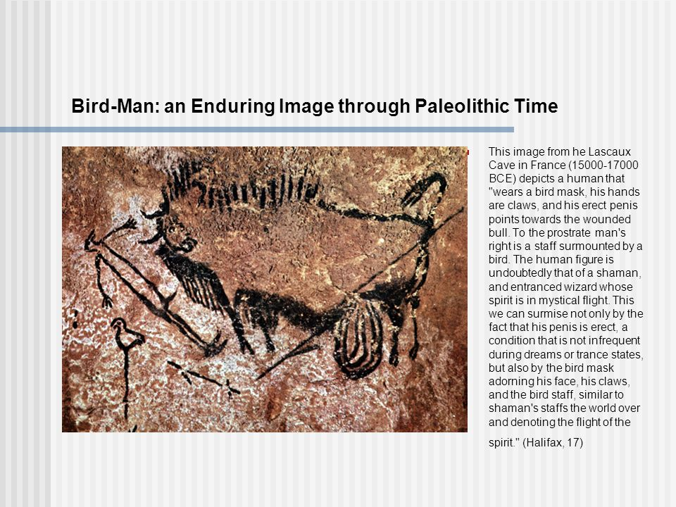 Bird-Man: an Enduring Image through Paleolithic Time This image from he Lascaux Cave in France (15000-17000 BCE) depicts a human that wears a bird mask, his hands are claws, and his erect penis points towards the wounded bull.
