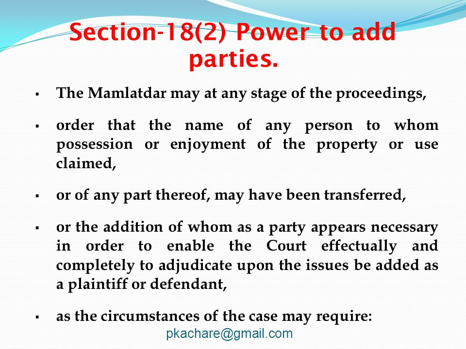 Section-18(2) Power to add parties.