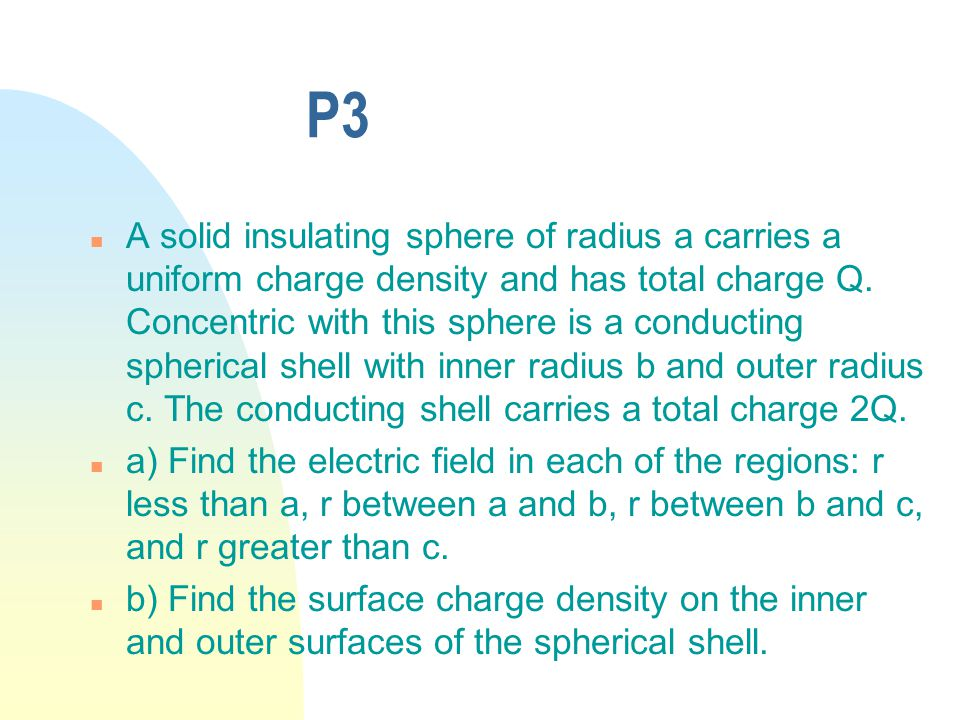 P3 n A solid insulating sphere of radius a carries a uniform charge density and has total charge Q.