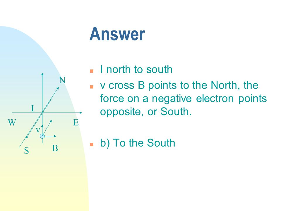 Answer n I north to south n v cross B points to the North, the force on a negative electron points opposite, or South.