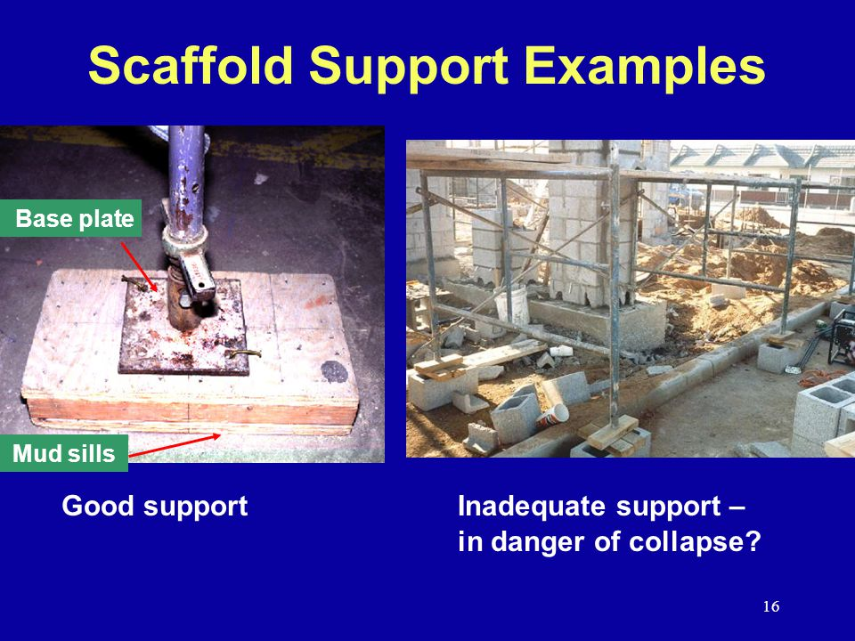 16 Scaffold Support Examples Good supportInadequate support – in danger of collapse.