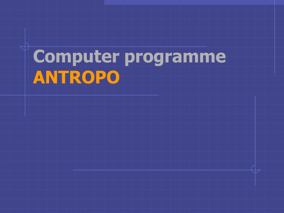 Computer programme ANTROPO