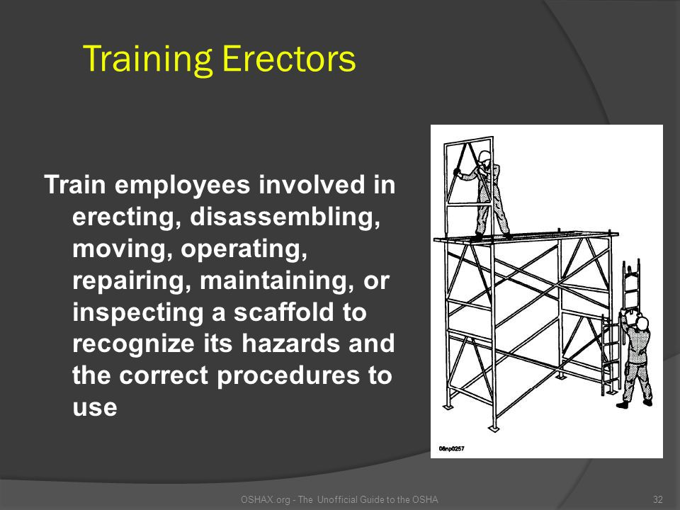 Training Erectors Train employees involved in erecting, disassembling, moving, operating, repairing, maintaining, or inspecting a scaffold to recogniz