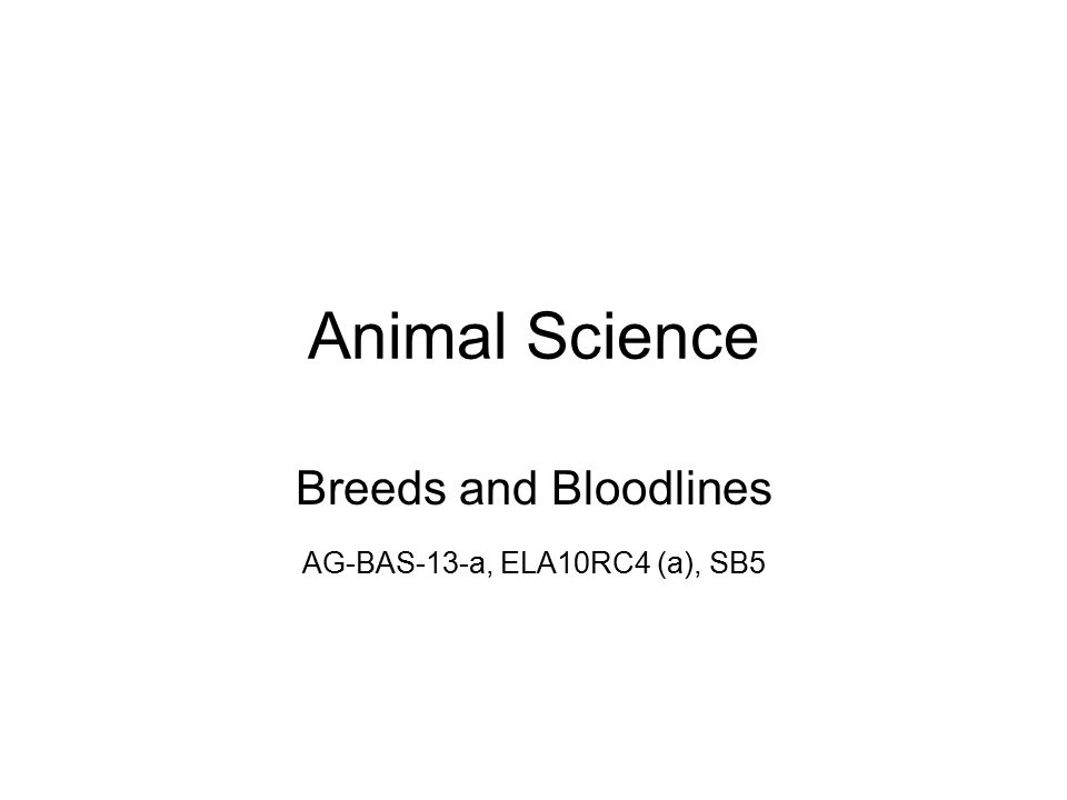 Animal Science Breeds and Bloodlines AG-BAS-13-a, ELA10RC4 (a), SB5
