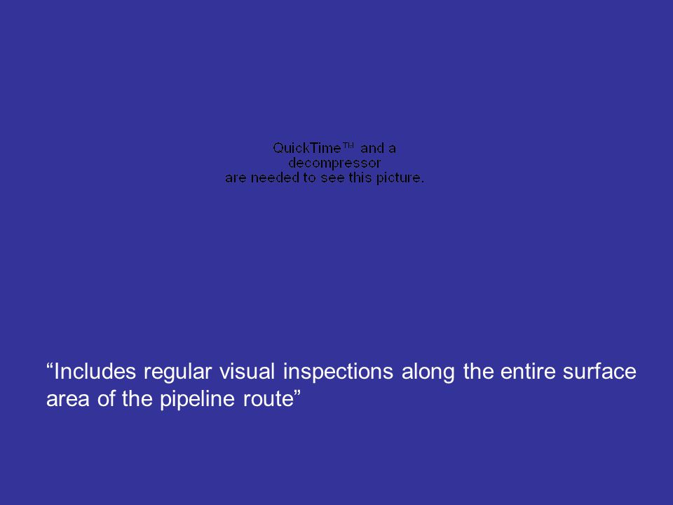 Includes regular visual inspections along the entire surface area of the pipeline route