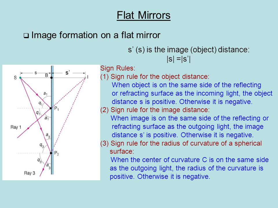 Multiple image due to multiple Reflection by two mirrors h h' m = h'/h=1 lateral magnification image is erect image is virtual  Image of an extended object on a flat mirror S'1S'1 S'2S'2 S'3S'3 Flat Mirrors