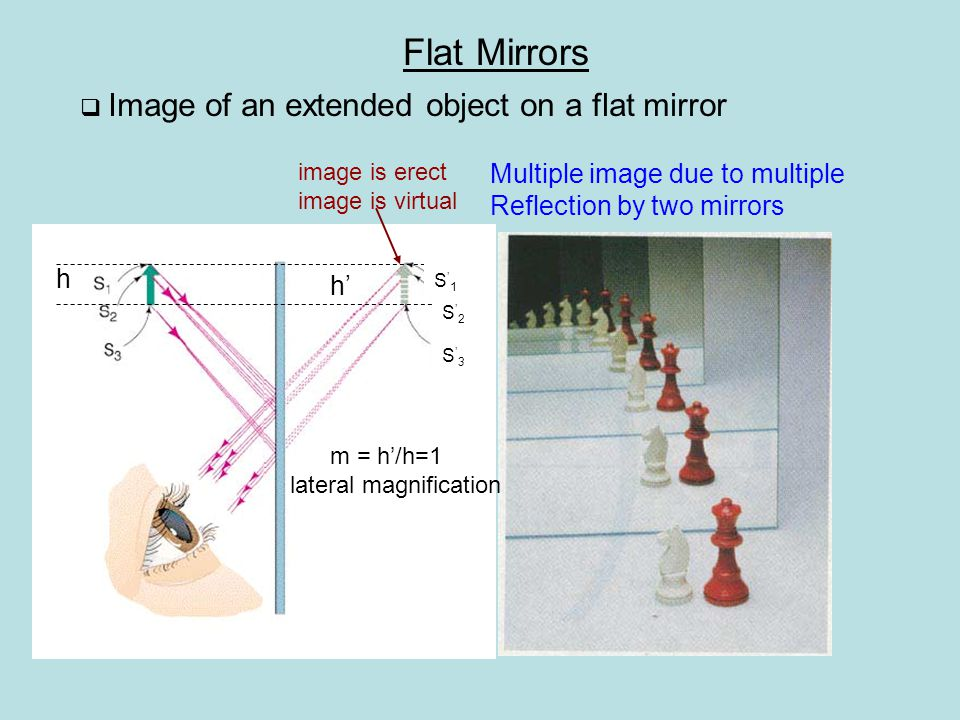  Magnification of image at a convex mirror s' For a convex mirror f < 0 m > 1 magnified m < 1 minimized m > 0 image upright m < 0 image inverted Image Formed by Spherical Mirrors