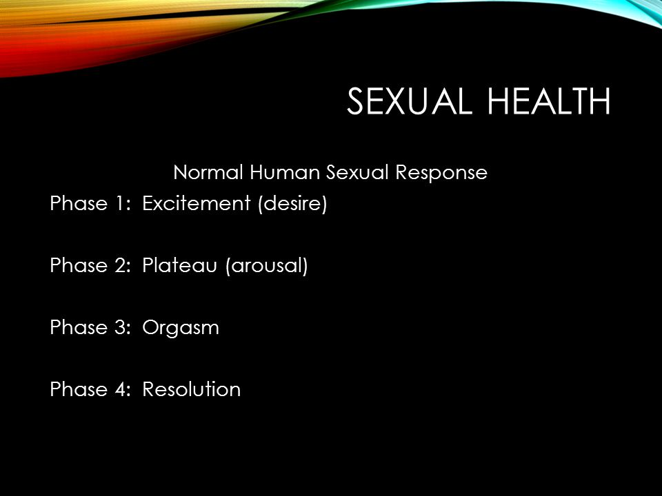 SEXUAL HEALTH Normal Human Sexual Response Phase 1: Excitement (desire) Phase 2: Plateau (arousal) Phase 3: Orgasm Phase 4: Resolution
