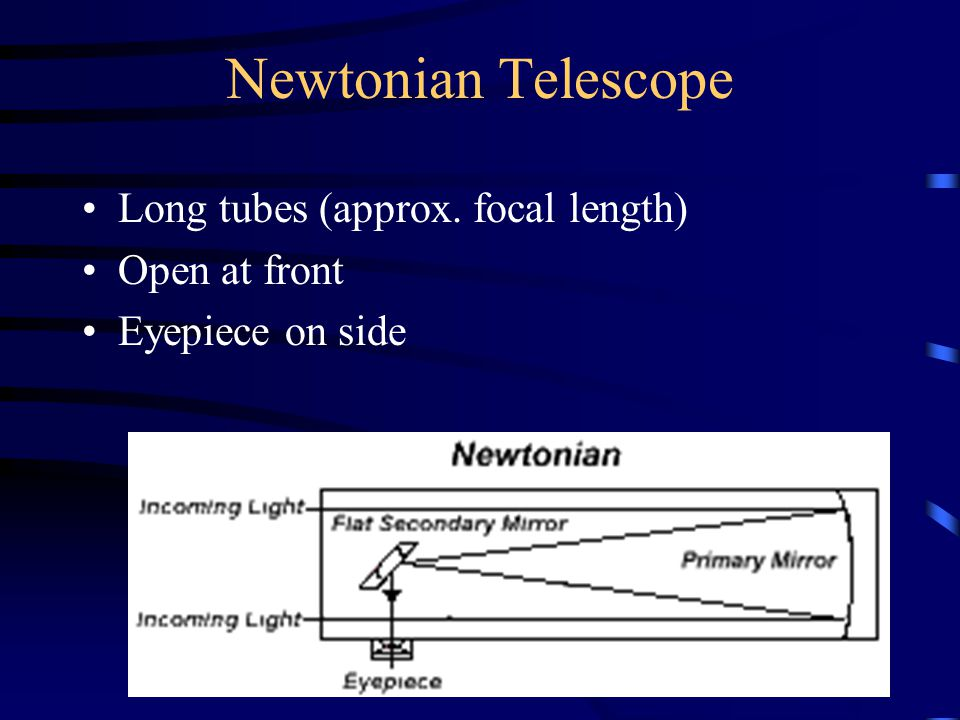 Newtonian Telescope Long tubes (approx. focal length) Open at front Eyepiece on side