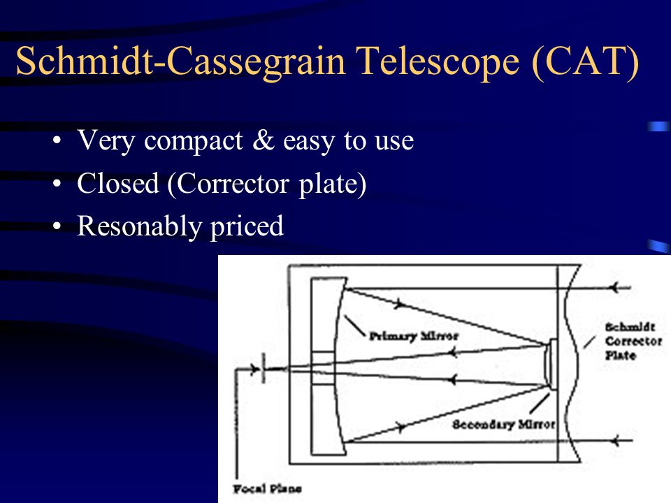 Schmidt-Cassegrain Telescope (CAT) Very compact & easy to use Closed (Corrector plate) Resonably priced