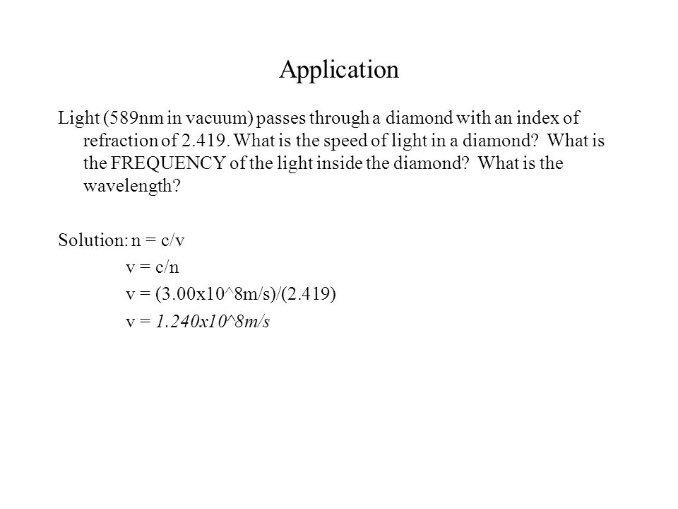 Application Light (589nm in vacuum) passes through a diamond with an index of refraction of 2.419.