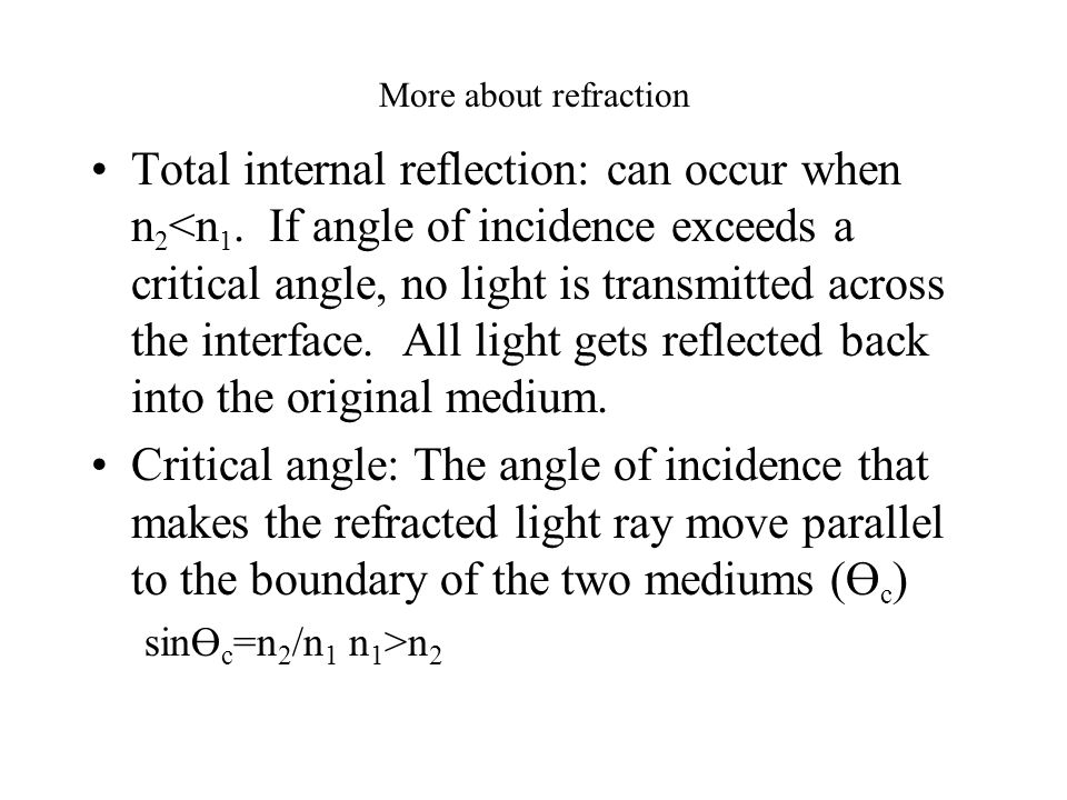 More about refraction Total internal reflection: can occur when n 2 <n 1.