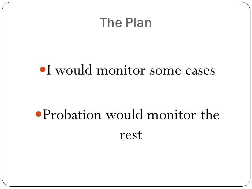 The Plan I would monitor some cases Probation would monitor the rest