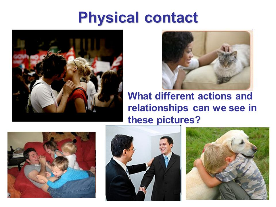 Physical contact What different actions and relationships can we see in these pictures?