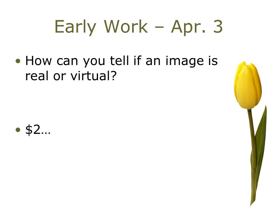 Early Work – Apr. 3 How can you tell if an image is real or virtual? $2…