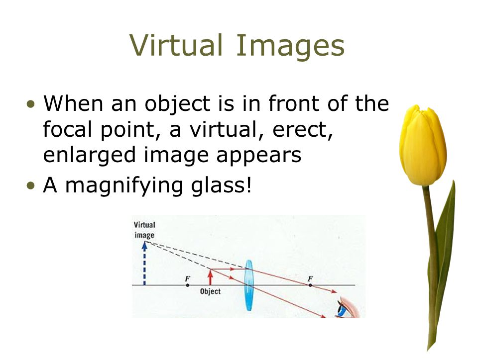 Virtual Images When an object is in front of the focal point, a virtual, erect, enlarged image appears A magnifying glass!