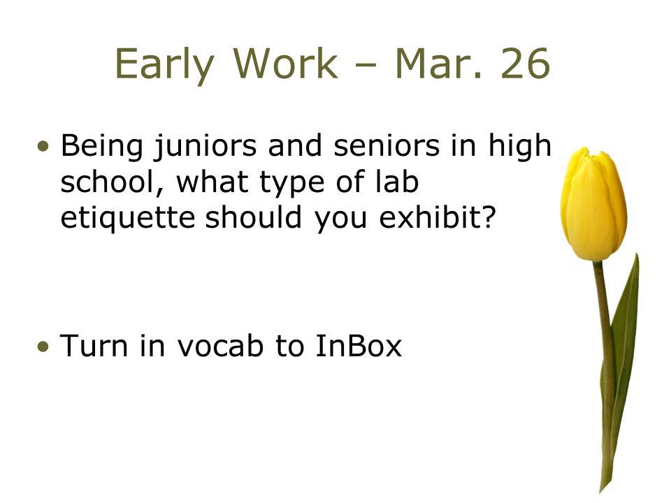 Finish Lab Lab Etiquette 20 minutes to finish
