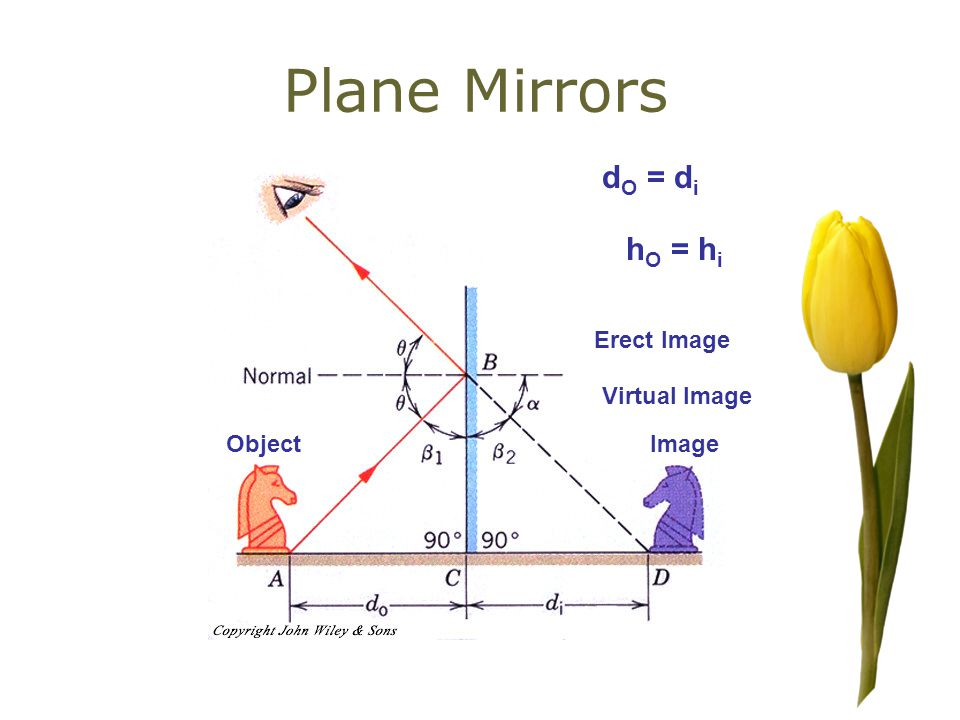 Plane Mirrors ObjectImage Virtual Image d O = d i h O = h i Erect Image
