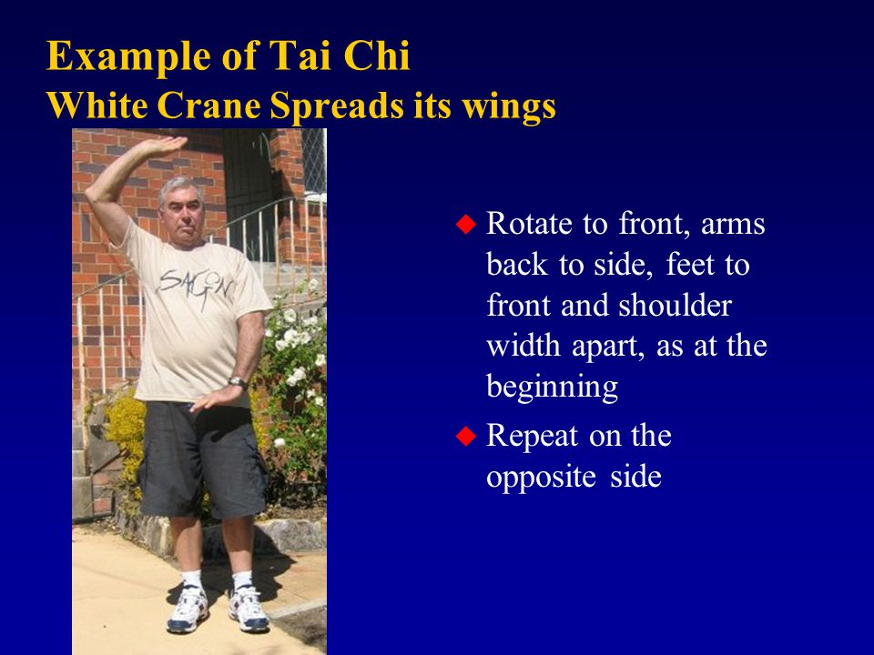 Example of Tai Chi White Crane Spreads its wings u Rotate to front, arms back to side, feet to front and shoulder width apart, as at the beginning u Repeat on the opposite side