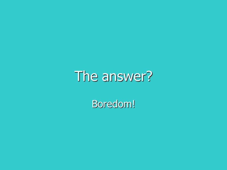 The answer Boredom!