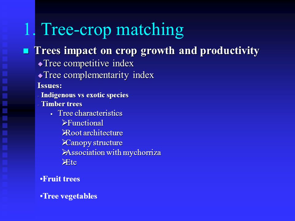 1. Tree-crop matching Trees impact on crop growth and productivity Trees impact on crop growth and productivity  Tree competitive index  Tree comple